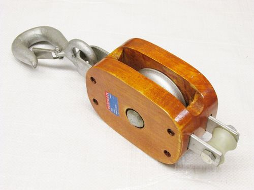 Wooden Blocks With Safety Hook, Single Sheave